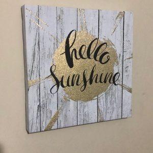 Hello Sunshine Quote Wall Decor Canvas White Gold